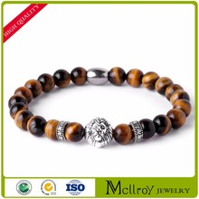 High quality natural agate stone bracelet ancient silver lion head bracelet AA161985