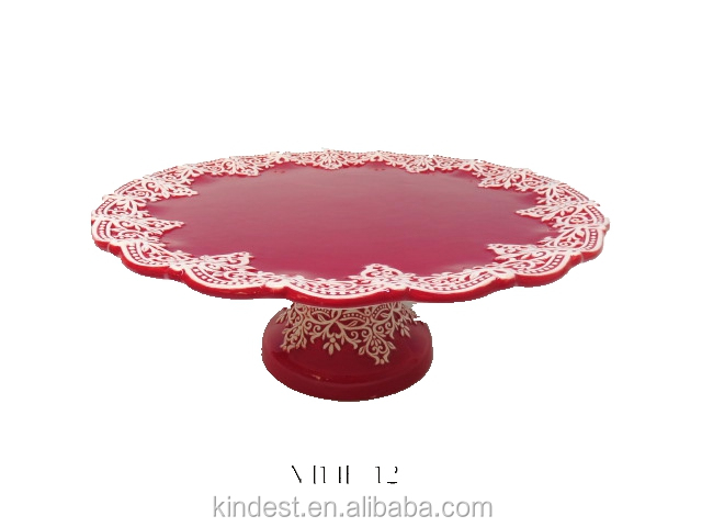 Christmas Ceramic Cake Plate Red factory price directly
