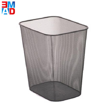 High quality office square metal wire mesh paper trash bin rubbish can