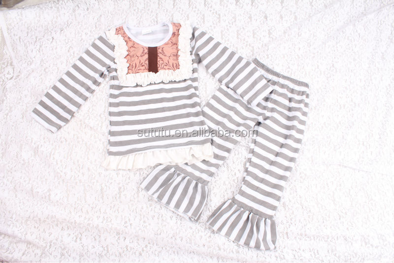 Chinese Clothes Brand Wholesale Price With Stripe Design Kids Casual Wear Clothes Hot Sale Children Outfits