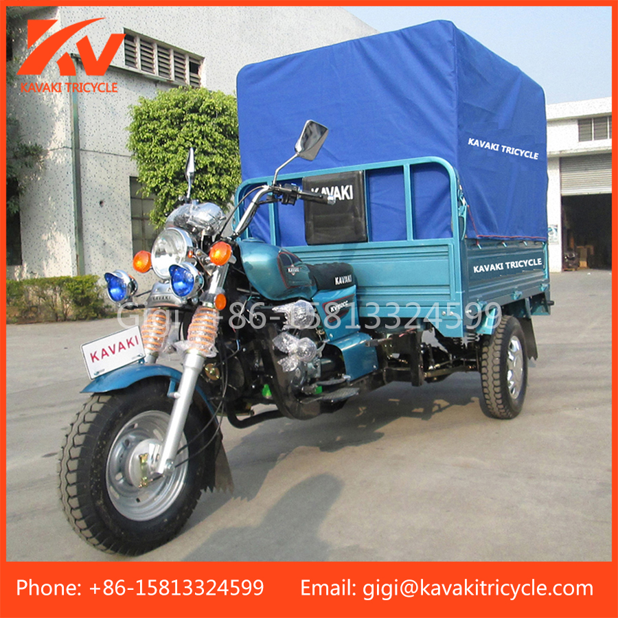 China Guangzhou supplier supply cheap price KAVAKI 150cc air-cooled three wheel cargo motorcycle with canvas
