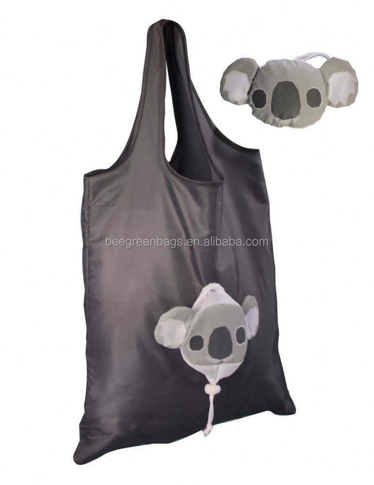 Super quality 210D Polyester nylon foldable shopper bag with Koala shape pouch