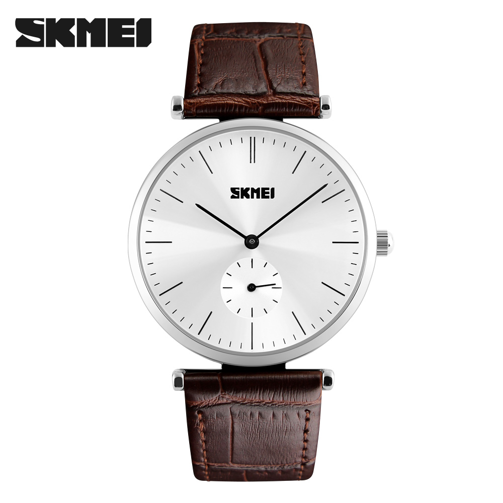 high quality stainless steel back genuine leather quartz watch