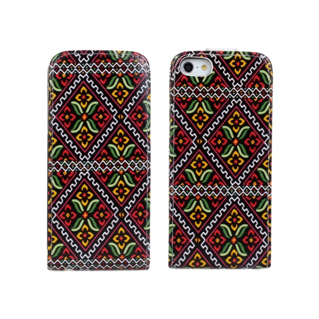 Aztec Tribe Flower Printing Leather Flip Case for iPhone 5 5s