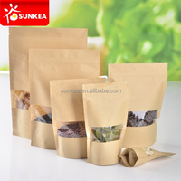 Brown kraft paper stand up pouch with PET plastic window