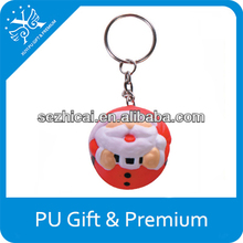 PU stress keychain santa claus keychains christmas ornaments smiley face soft toys