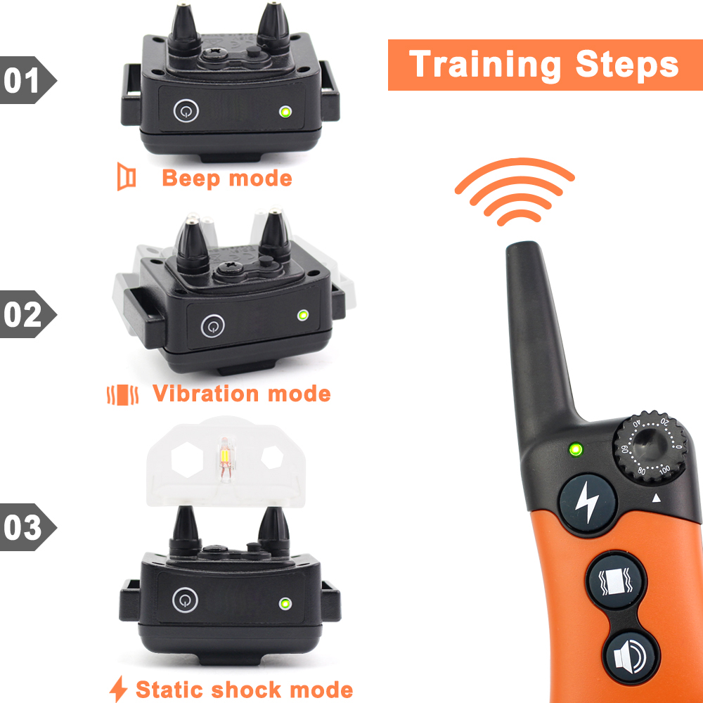 330m Dog Training Collar -Vibration/Static Shock/Tone Training Stimulations for All Dogs  Descrip