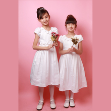 Kids Party Wear Hot White Floral Appliqued Girl Dress for Wedding