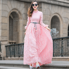 New Arrival Islamic Muslim lace Dresses for Women 2017 Long maxi Dresses Ladies Clothing