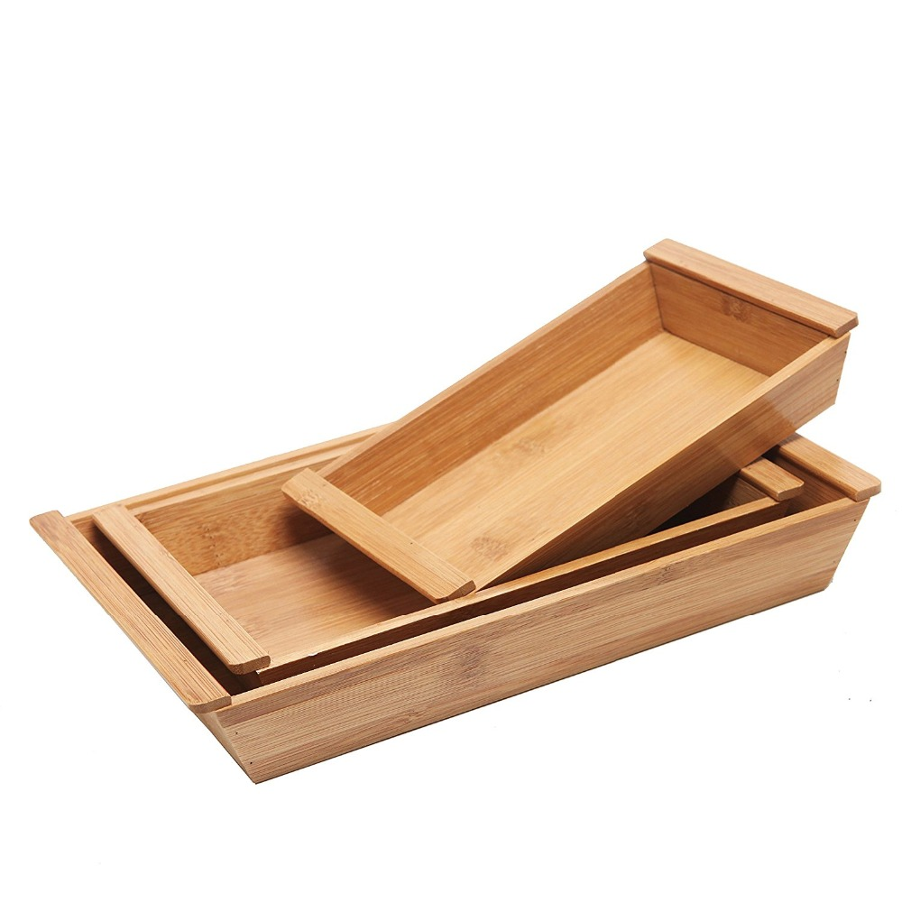 Small Natural Bamboo Rectangular Nesting Decorative Trays with Handles, Set of 3