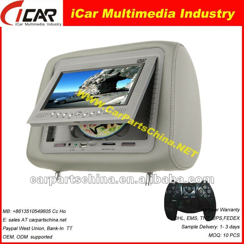 "hot selling !7 "" car dvd headrest DVD with 7-inch high-definition digital touch 16:9 screen"