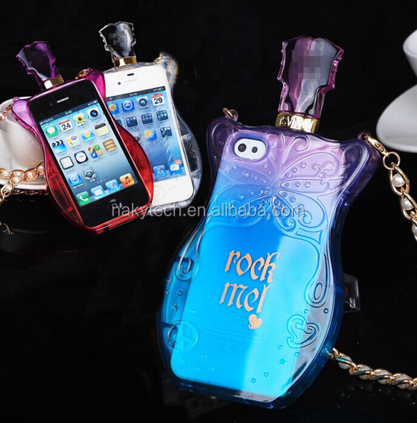 2014 New Design Phone Case Perfume Bottle Case Silicone Back Cover Case for iPhone 4/5