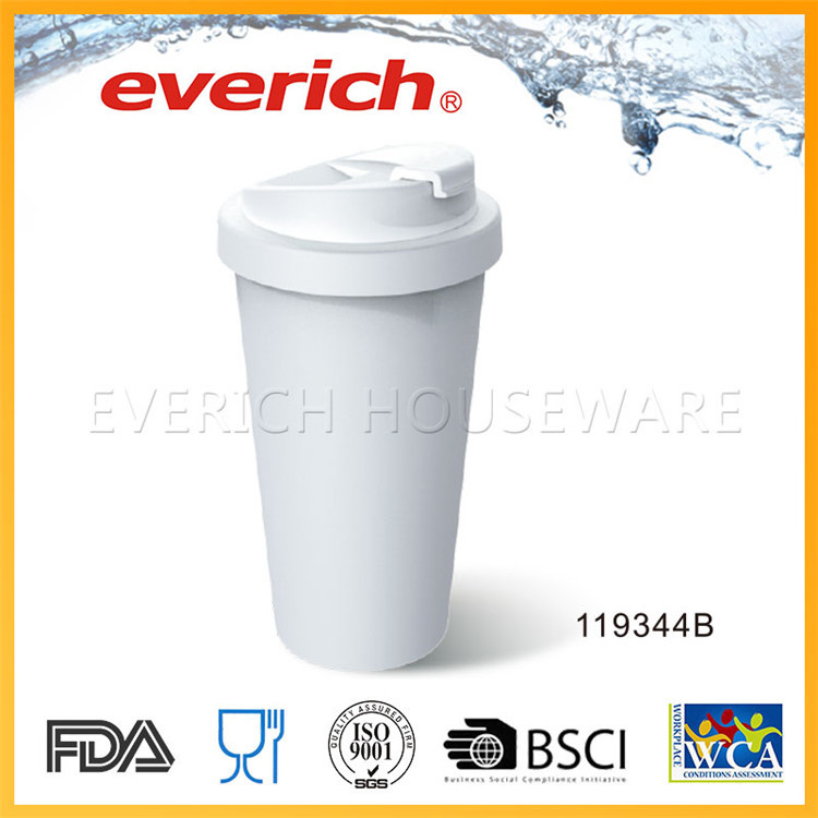 FDA Grade Customized White Coffee Mug With Straw