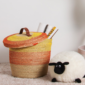 Unique extra large woven orange seaweed seagrass rice storage straw round belly kid toy laundry basket with lid from china linyi