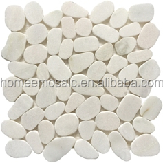 White color Pebble stone tile in irregular size for indoor or outdoor decoration with nature feeling