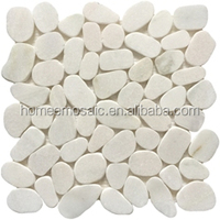 indoor and outdoor irregular size white color Pebble stone mosaic tile