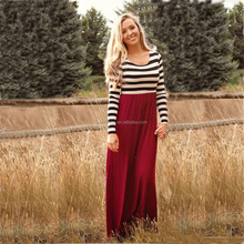 Casual Family fitted Mother Daughter Dress O-neck Cotton Summer Striped Dresses