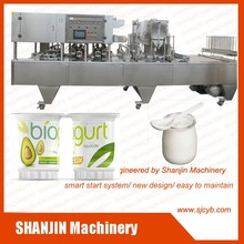 Automatic 2/4/6 heads cup filling and sealing machine for honey,milk tea, yoghurt