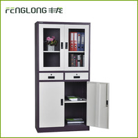 Ironking cheap KD structure office furniture 2 glass swing door storage filing cabinet