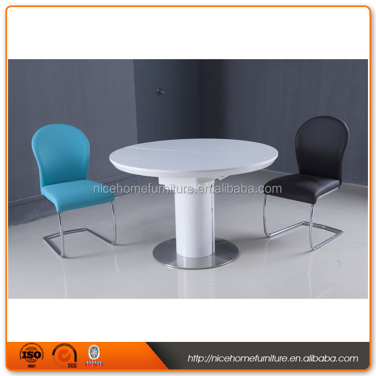 2016 New Designs white light expandable round dining table