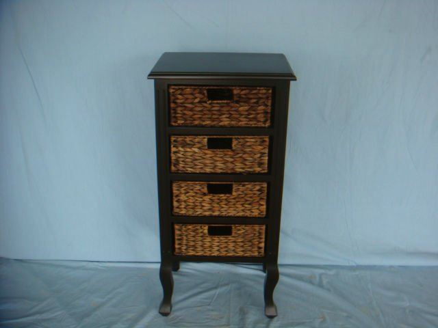 rattan storage unit with 4 drawers