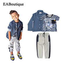 EABoutique 2017 boys clothing fashion Clothing Sets kids boys tracksuit winter jackets with leopard T-shirt Casual pants