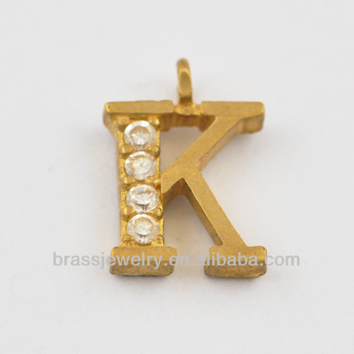 Yiwu Brass Jewelry Manufacturer Custom Metal Letter K Pendant for Jewelry Making