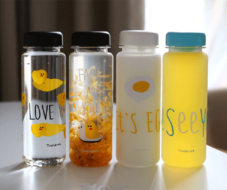 Custome Logo Custome Lid Color Plastic Water Bottle Korea Style My Bottle 500 ml With Fabric Bag