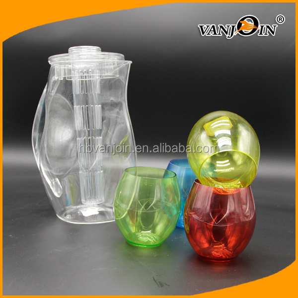 2.8L Fruit Infuser Plastic Water Filter Pitcher, Clear Ice Bucket With Four-color Small Cup