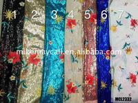 indian Full fabric 3d sequin flower applique french net fabric For wedding dress