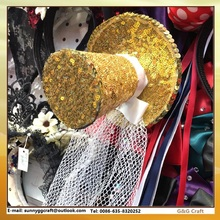 HG 001 Customized Christmas Glitter Top Hat Hairgrips Hairbands