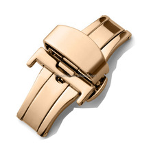 Rose gold stainless steel bracelet deployment clasp