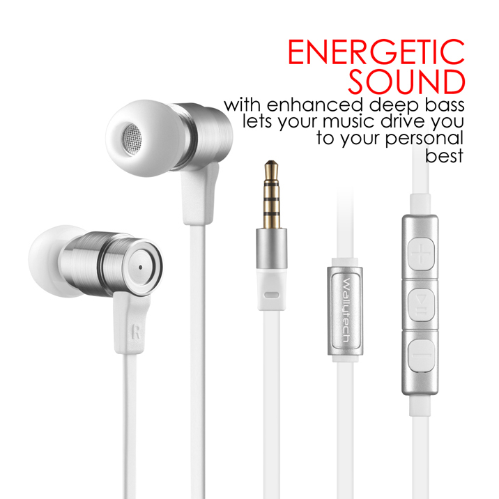 Wallytech W805 Metal in Ear Earphones with Built-in Mic Tangle-free Wired Headset Earbuds for Apple IOS for Samsung
