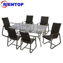 With Tempered Glass Table Top Outdoor Rattan Garden Furniture Dining Table