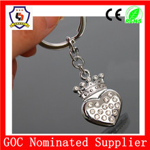 GIFT & CRAFT strawberry keyring with rhinestone/fruit metal keychain metal/initial key ring (HH-key chain-937-1)