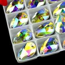 13X22mm crystal AB pear sew on glass stone, sew on crystal strass for clothing decoration