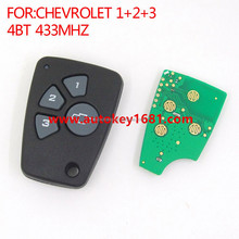 best quality car remote 3+1 button 433mhz key for chevrolet 1-2-3