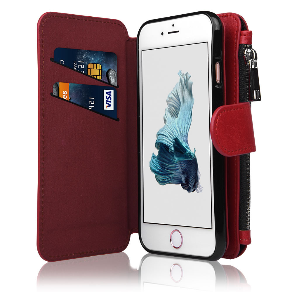 C&T Synthetic Zipper Coin Purse Detachable Stand wallet leather flip mobile case for iphone 6s