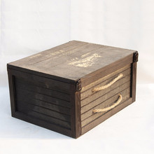 Chinese factory wooden beer wine packing box customized handmade 6 bottle wooden wine box