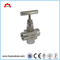 SS304 rotary air female thread 3 way needle valve