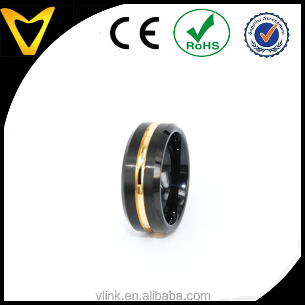 Gold Plated Jewelry 8mm Polished Edge/ Matte Brushed Finish Golden Grooved Center Men's Tungsten Ring Wedding Band Color Black