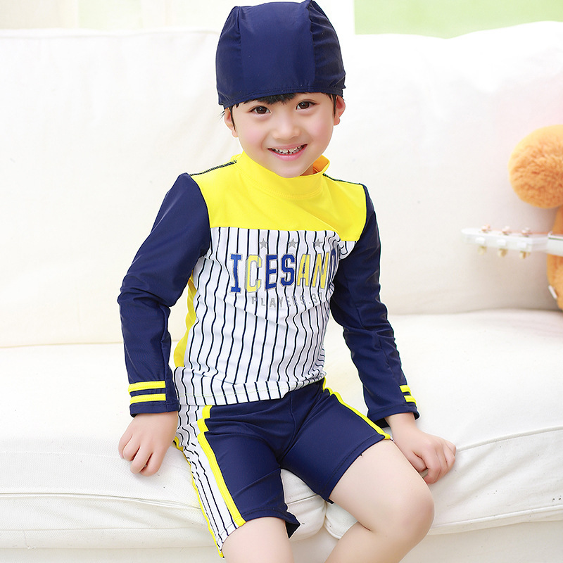 HT-LBS online hot sale nice pure color western boy swimsuit printed one piece children swimwear designer kids wear