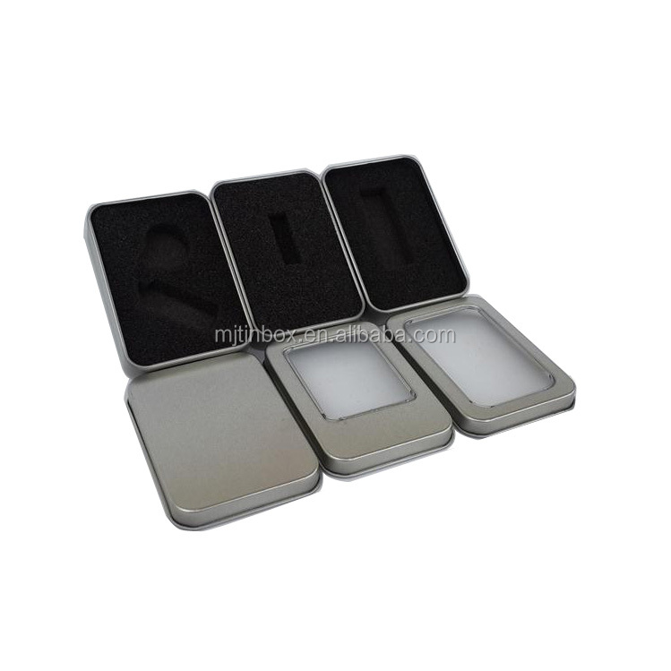Rectangular tin box with window for usb disk /metal usb flash drive box with clear window/ tin usb stick box with foam insert