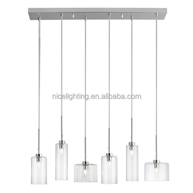 Horizontal Pendant lamp three size clear glass shade stainless steel canopy