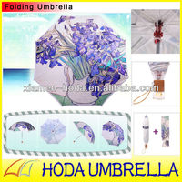 Famous Oil Painting Collapsible Umbrella/Artistic Flower printing Folding Umbrella with transparent plastic frame
