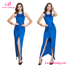 Fast delivery blue one piece summer long dress chiffon new style