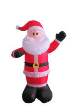 120cm/4ft Inflatable santa claus who stand and wave left hand to us for christmas