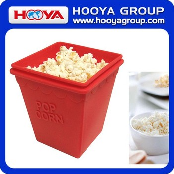 Square Silicone Popcorn Bucket With Lid Cover