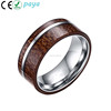 8mm Tungsten Carbide Flat Top Koa Wood Inlay Tungsten Ring Wedding Engagement Bands for Men