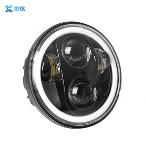 5.75 Inch Halo Ring Angel Eyes Motorcycle Round h4 car light RGB LED Headlight with bluetooth Remote Control for Harley Davidson